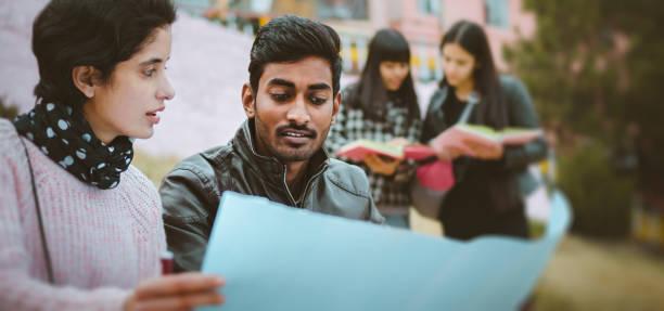 multi ethnic college students discussing project together. - compagni scuola foto e immagini stock