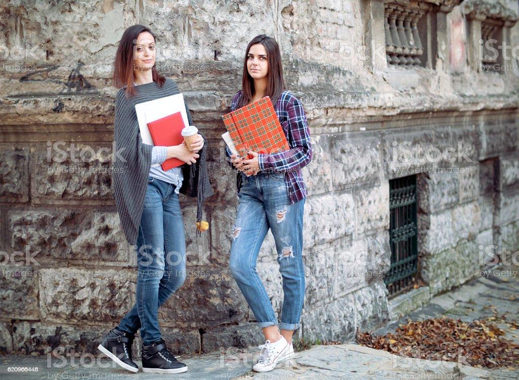 Multi ethnic female students holding school books outside campus stock photo