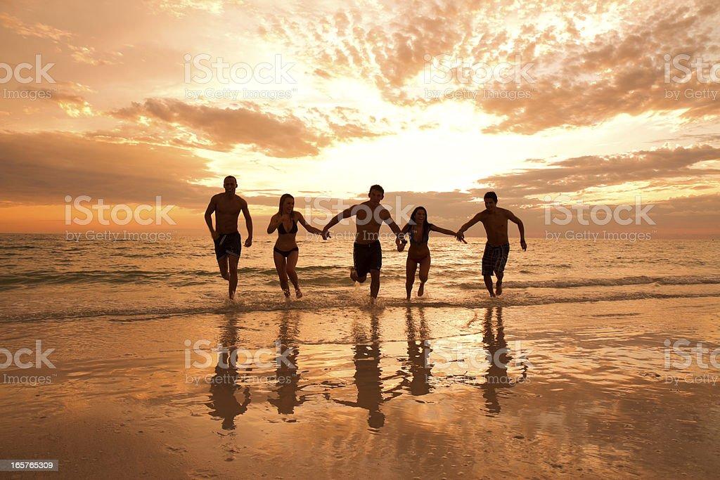 Multi ethnic friends having fun at the beach royalty-free stock photo