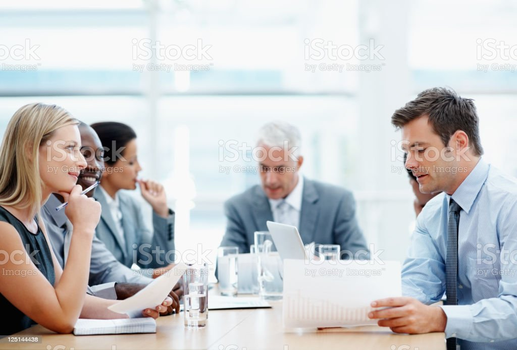 Multi ethnic group in a business meeting royalty-free stock photo