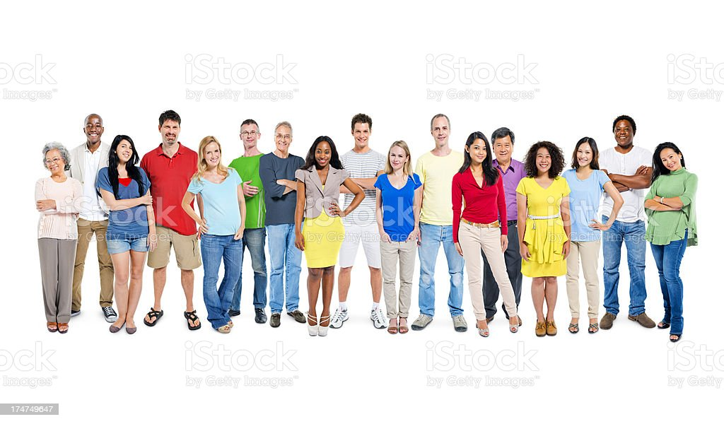 Multi ethnic group of happy people standing together royalty-free stock photo