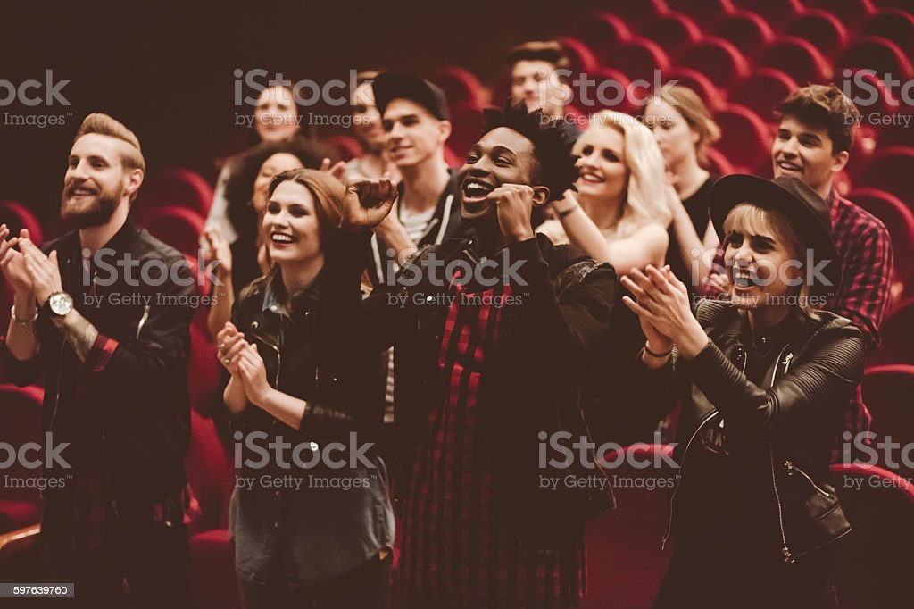 Multi ethnic group of people in the theater - foto de stock