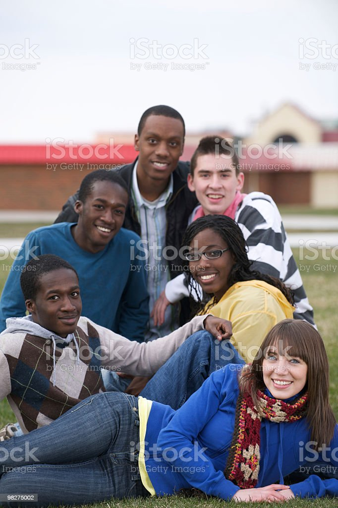 Multi ethnic group of students royalty-free stock photo