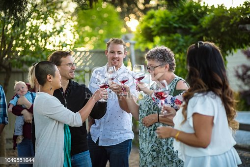 A group of adults clink their glasses together at a wine tasting session of a vineyard. A woman is holding a baby in the background.