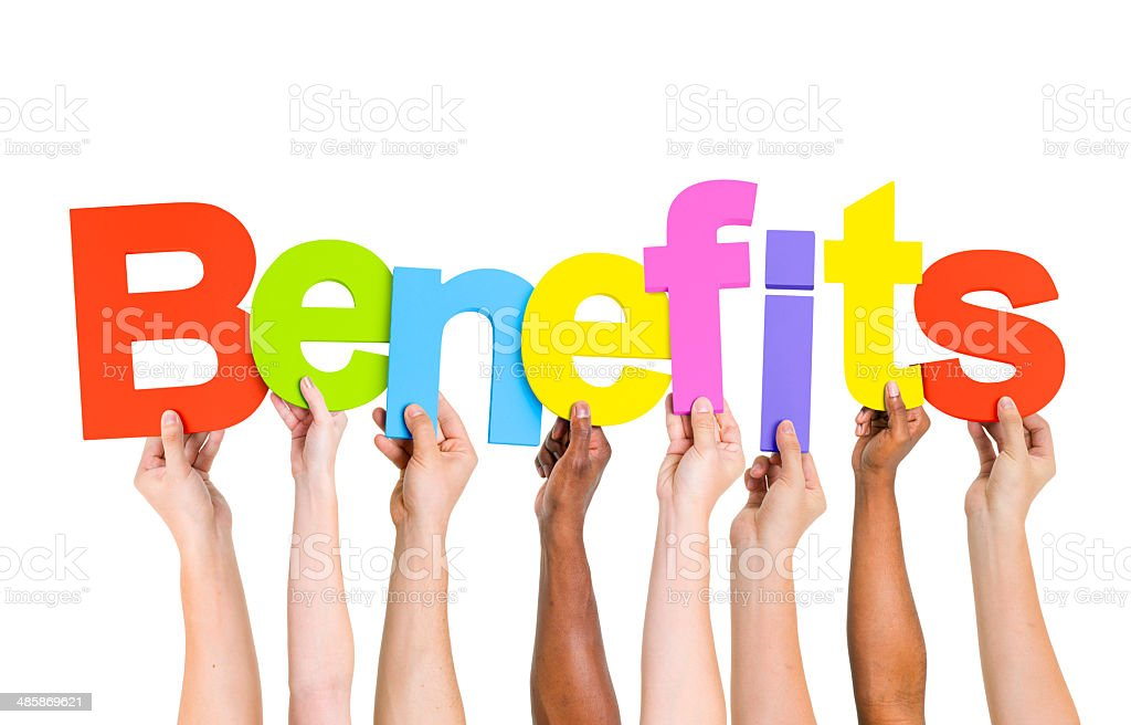 Multi Ethnic People Holding The Word Benefits stock photo