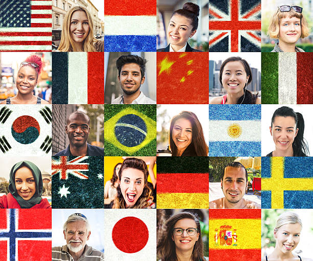 Multi ethnic people portraits and national flags Collection of diverse people headshots. national flag stock pictures, royalty-free photos & images
