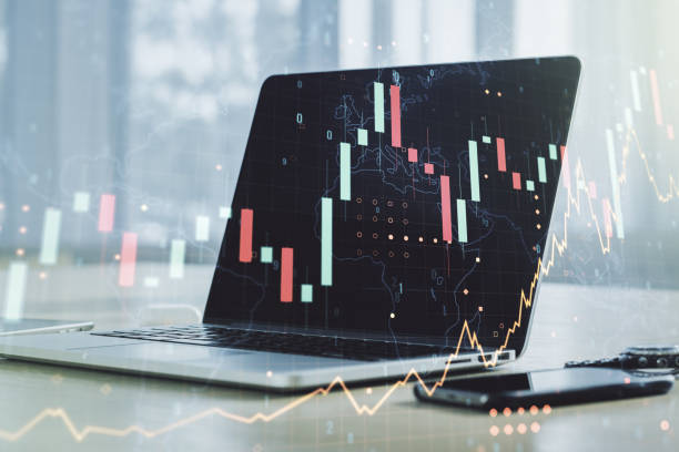 Multi exposure of abstract creative financial graph with world map on modern laptop background, forex and investment concept Multi exposure of abstract creative financial graph with world map on modern laptop background, forex and investment concept automated webinar stock pictures, royalty-free photos & images