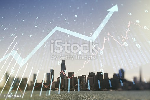 istock Multi exposure of virtual abstract financial graph and upward arrow on San Francisco cityscape background, financial and trading concept 1219647603