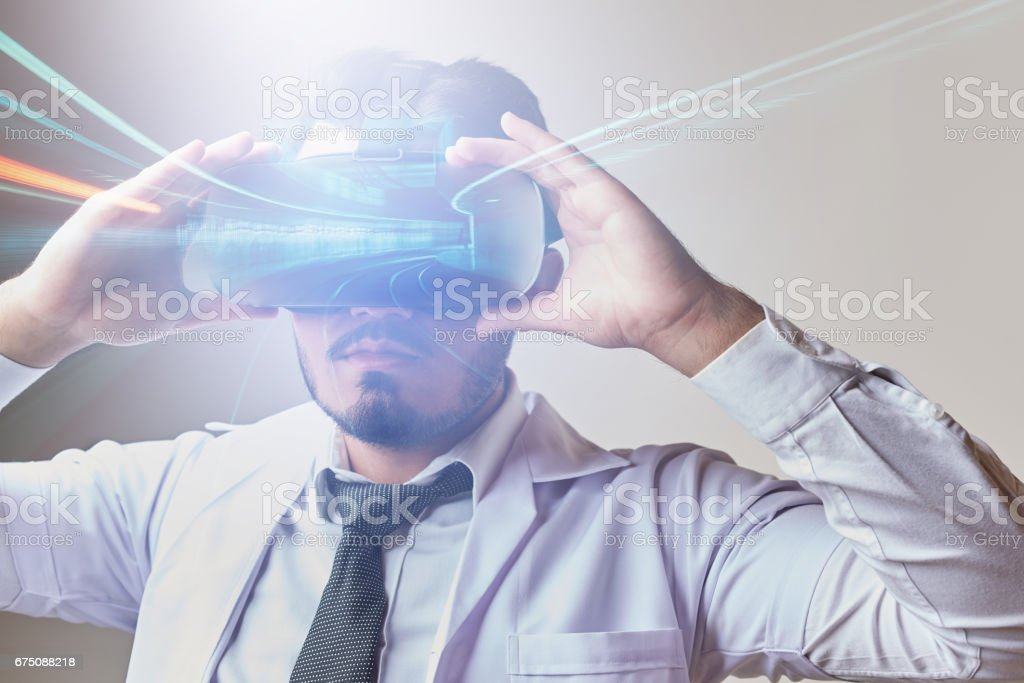 Multi exposure with virtual glasses with train station stock photo