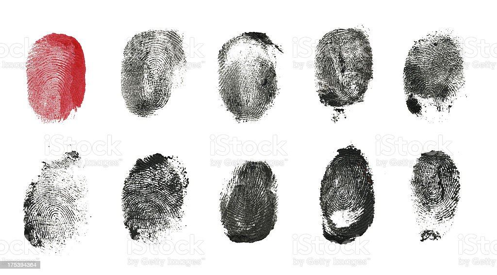Multi Fingerprint (Clipping Path) royalty-free stock photo
