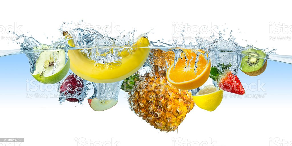 multi fruit splash stock photo