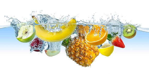 Varias salpicaduras de frutas - foto de stock