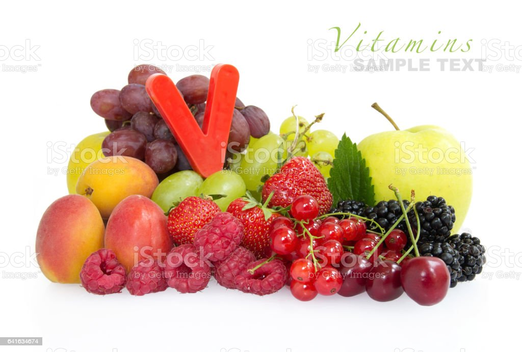Multi Fruits with a letter 'V' for multi vitamins stock photo
