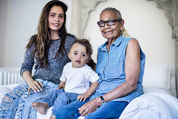 Multi generation aboriginal family stock photo