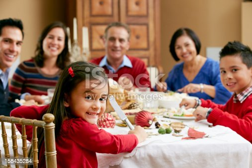 Multi Generation Family Celebrating With Christmas Meal Smiling To Camera