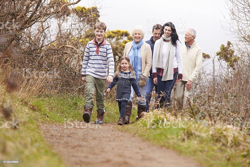 Multi Generation Family On Countryside Walk stock photo