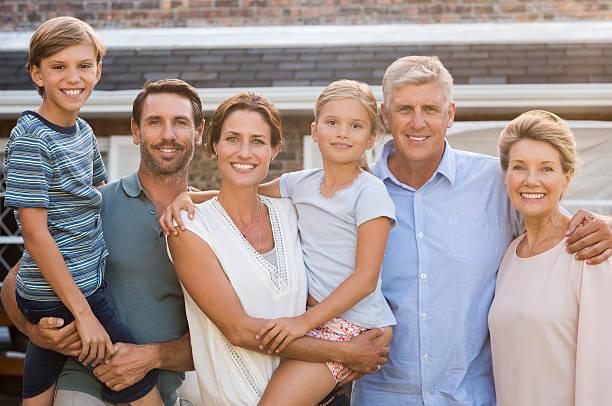 Multi generation family outdoor stock photo