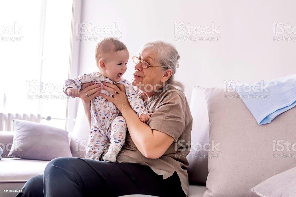 Multi generation family playtime stock photo