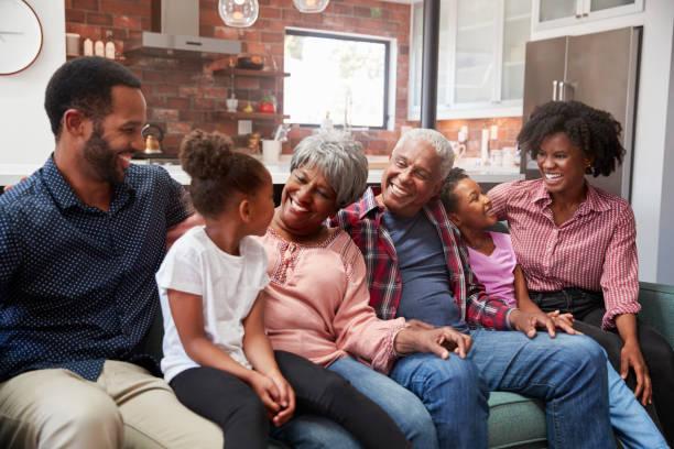 multi generación familia relajarse en el sofá en casa juntos - africano americano fotografías e imágenes de stock