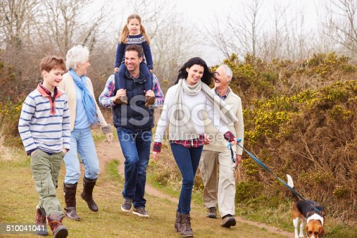 510042945 istock photo Multi Generation Family With Dog On Countryside Walk 510041041