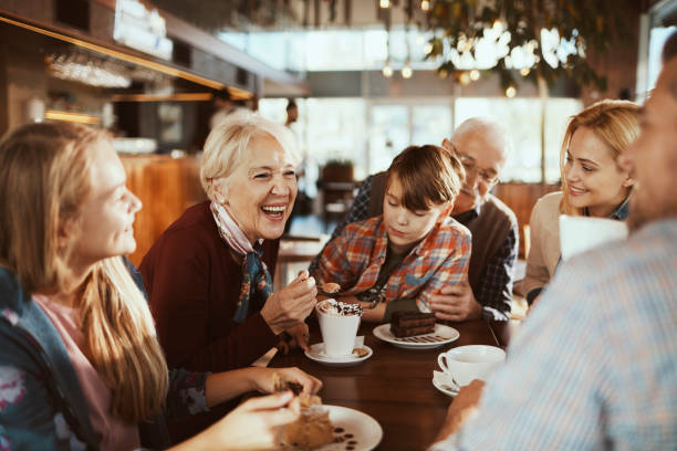 Multi Generational Family in a Cafe stock photo