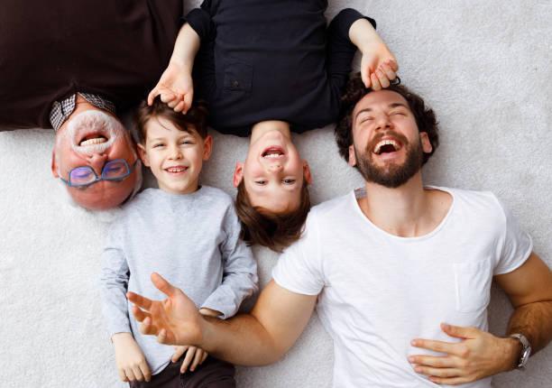 Multi generational male family members stock photo