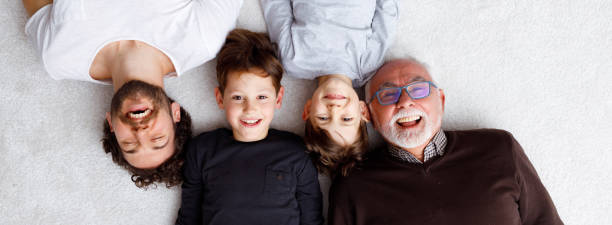 Multi generational male family members stock photo