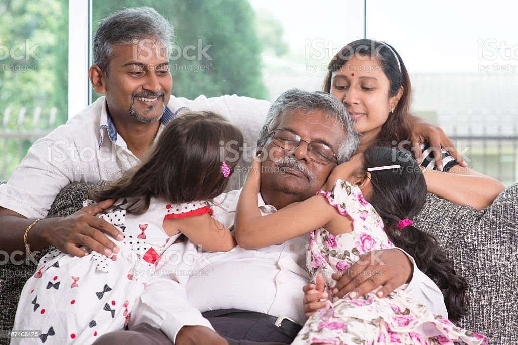 Multi generations Indian family stock photo