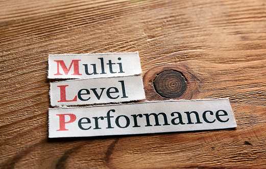 MLP- Multi Level Performance written on paper on wooden background