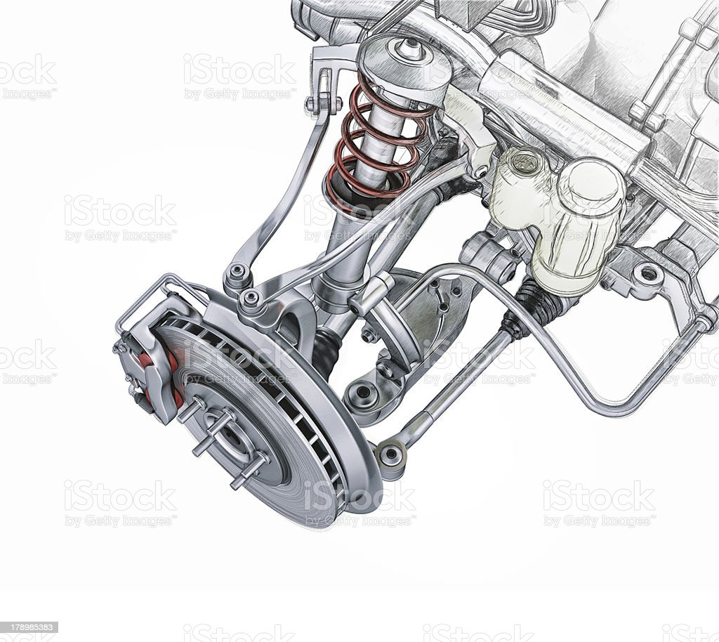 Multi link front car suspension, with brake. Photorealistic 3D rendering. stock photo