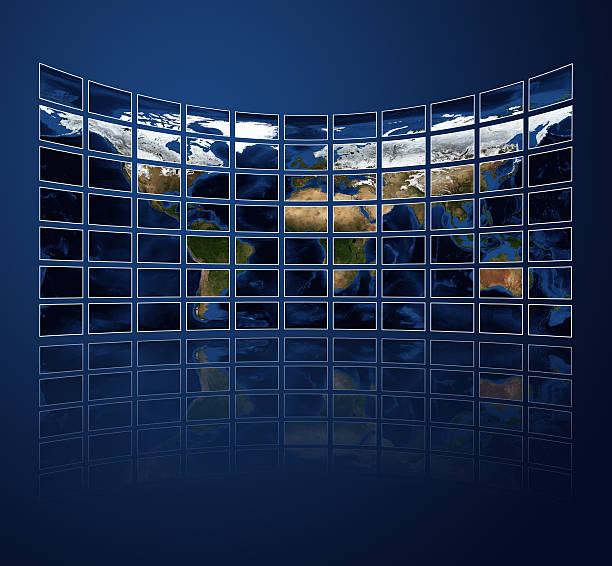 Multi media screens displaying the atlas stock photo