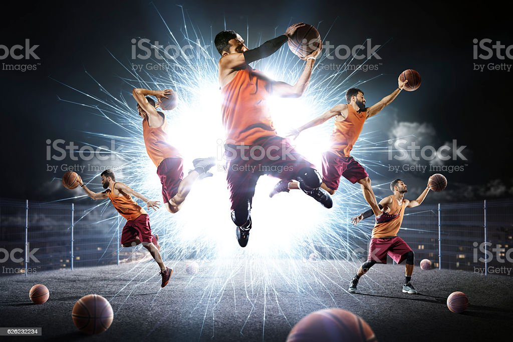 Multi persons basketball players collage stock photo