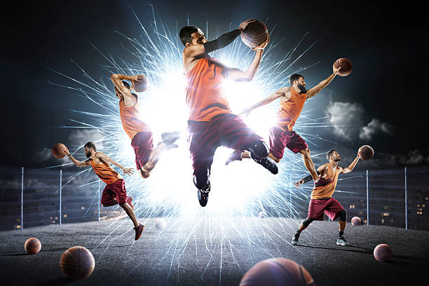 Multi persons basketball players collage – Foto
