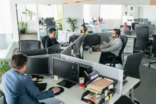 multi racial business people working in modern office - office cubicle stock pictures, royalty-free photos & images