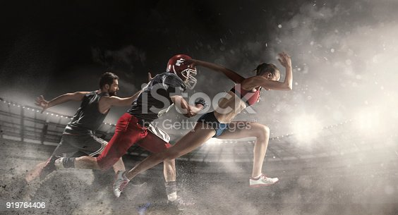Irresistible in attack. Multi sports collage about basketball, American football players and fit running woman. Conceptual photo with running athletes in motion or movement at stadium with sand, smoke