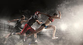 istock Multi sports collage about basketball, American football players and fit running woman 919764406