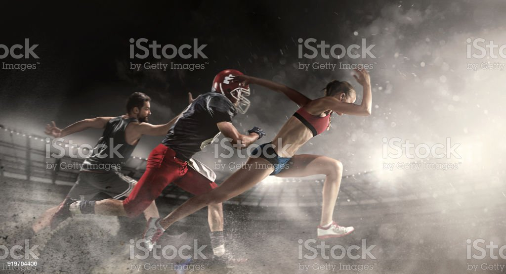 Multi sports collage about basketball, American football players and fit running woman stock photo