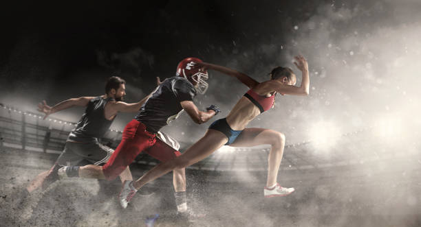 Multi sports collage about basketball, American football players and fit running woman - foto stock