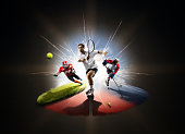 Multi sports collage tennis hockey american footbal