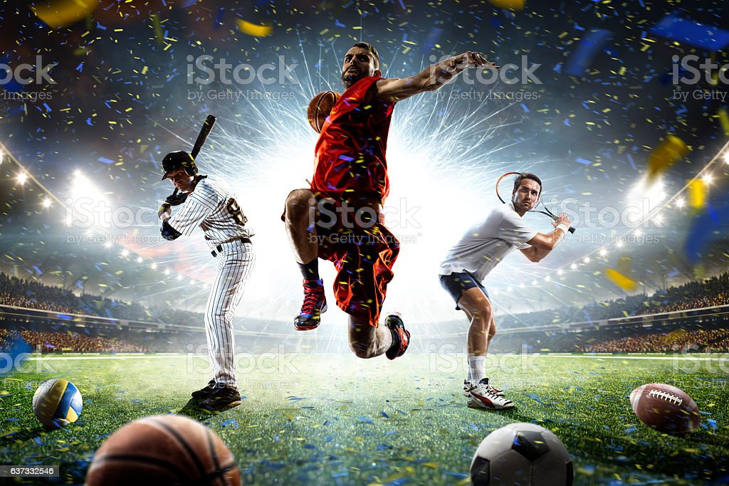 Multi sports players in action collage on grand arena - foto de stock