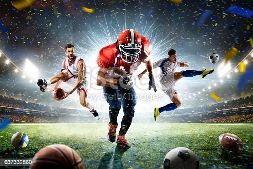 istock Multi sports proud players collage on grand arena 637332860
