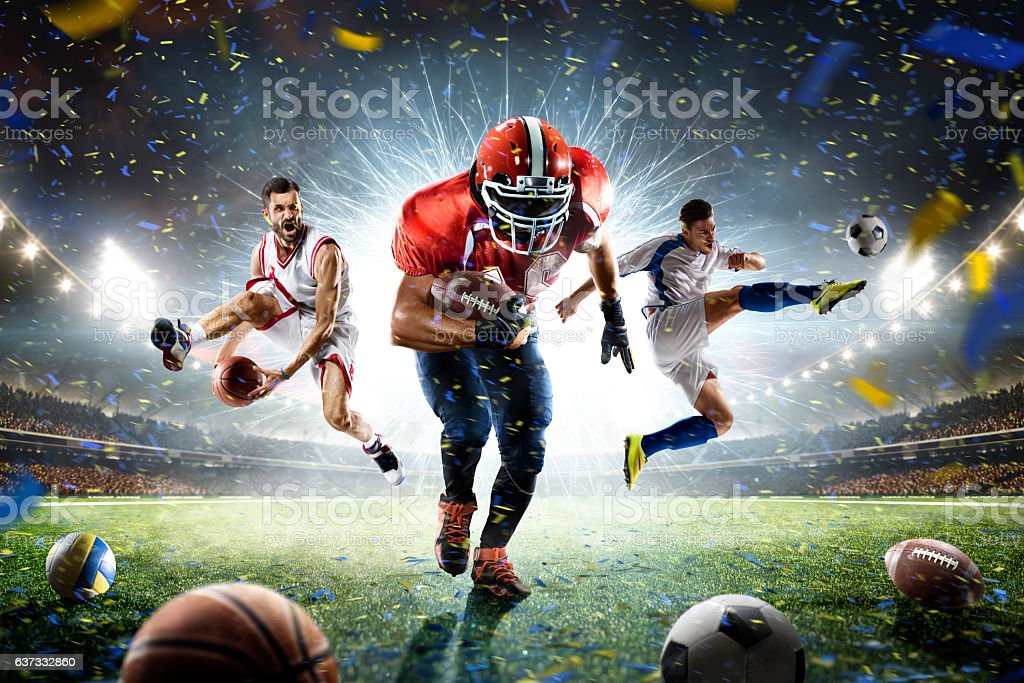 Multi sports proud players collage on grand arena - foto de stock