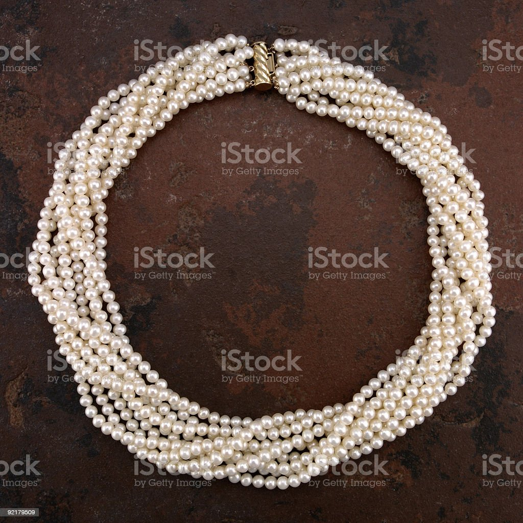 Multi Strand Pearl Necklace royalty-free stock photo