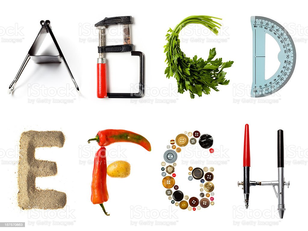 Multi style alphabet stock photo