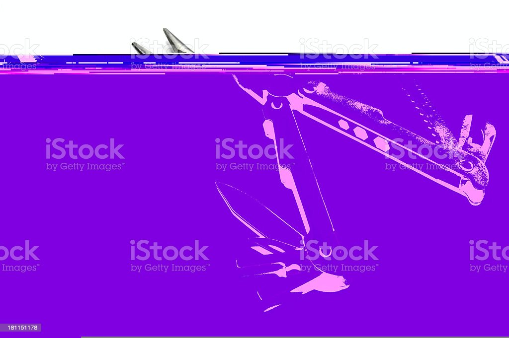 Multi tool open, white isolated royalty-free stock photo