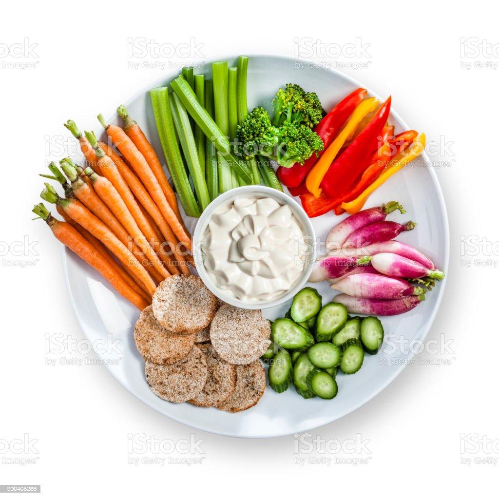 Multi-Gemüse Tauchen Sie in eine Platte von oben geschossen – Foto