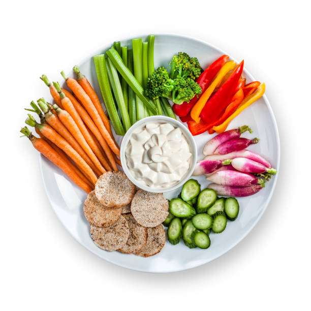 Multi vegetables dip in a plate shot from above stock photo