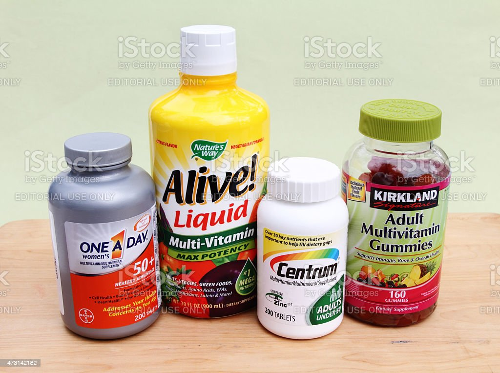Multi vitamin and mineral supplements stock photo