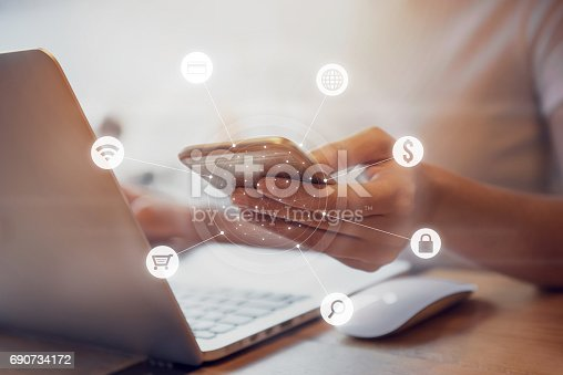 istock Multichannel online banking payment network communication 690734172