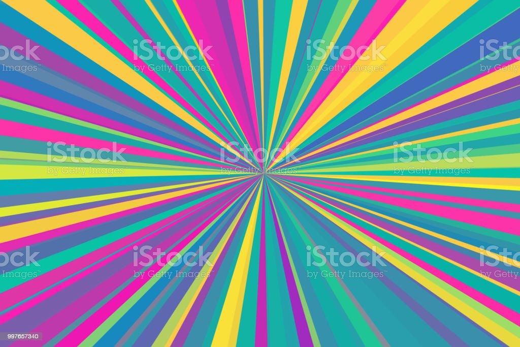 Multicolor abstrakten Strahlen Hintergrund. Bunte Streifen Strahlen Muster. Stilvolle Darstellung moderner Trendfarben. – Foto